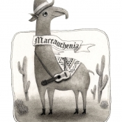 """Macrauchenia, the Long Llama"" 14.5cm x 11cm (5.7""x 4.3"") pencil on illustration board"