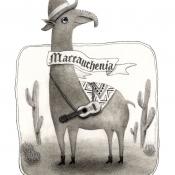 """Macrauchenia, the Long Llama"" 14.5cm x 11cm (5.7""x 4.3"") pencil on illustration board"