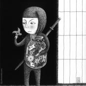 """…Uphfuifs"" 17.5cmx 12.5cm (7""x 5"") pen, watercolor, guache on illustration board"