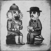 "​""Poker Players"" 15cmx 15cm (6""x 6"") drypoint print"