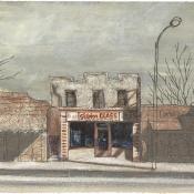 """Glass Store"" (Venice Beach series) 10cmx 15cm (4""x 6"") pen and acrylic on illustration board"