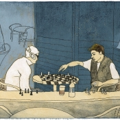 """Chess Player"" (Venice Beach series) 10cmx 15cm (4""x 6"") pen and acrylic on illustration board"
