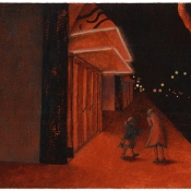 """Red Night"" (Venice Beach series) 10cmx 15cm (4""x 6"") pen and acrylic on illustration board"
