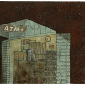 "​""Newspaper Stand"" (Venice Beach series) 10cmx 15cm (4""x 6"") pen and acrylic on illustration board"