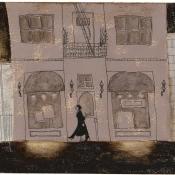 """Pink Building"" (Venice Beach series) 10cmx 15cm (4""x 6"") pen and acrylic on illustration board"