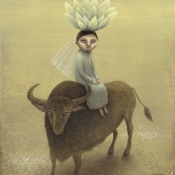 """Bride on a Buffalo"" 25cmx 20cm (10""x 8"") acrylic on illustration board"