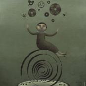 """""""Juggler"""" 25cmx 20cm (10""""x 8"""") acrylic on illustration board"""