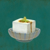 """""""Tofu"""" 8.5cmx 13.5cm (3.5""""x 5.25"""") acrylic on illustration board"""