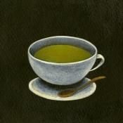 """Matcha Latte"" 8.5cmx 13.5cm (3.5""x 5.25"") acrylic on illustration board"