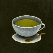 """Matcha Latte"" 8.5cmx 13.5cm (3.5""x 5.25"") acrylic on illustration board"