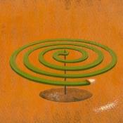 """Mosquito Coil"" 8.5cmx 13.5cm (3.5""x 5.25"") acrylic on illustration board"