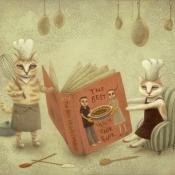 """The Best Veggie Cook Book"" 29cmx 34cm (11.3""x 13.3"") acrylic on illustration board"