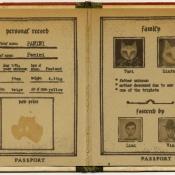 """Passport of Pawland for Panini"" 15cmx 11.5cm (6""x 4.6"") acrylic and mixed media"