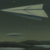 """Night Flight"" 25cmx 19cm (10""x 7.5"") acrylic on board"