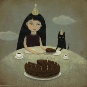 """Happy Birthday"" 12.5cm diameter (5"" diameter) acrylic on illustration board"