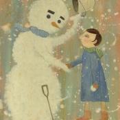 """""""Greetings"""" 27cmx 20cm (10.5""""x 8"""") acrylic on illustration board"""