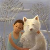 """""""Tatsu and His Dog"""" 69cmx 61cm (27""""x 24"""") acrylic on illustration board"""