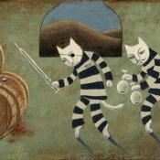 """""""The AlcatrazThiefs"""" 12.5cmx 25cm (5""""x 10"""") acrylic on illustration board"""