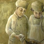 """Two Chefs"" 14.5cm x 20cm (5.75""x 8"") acrylic on illustration board"